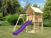 Akubi Spielturm Danny Satteldach + Rutsche violett + Einzelschaukel + Kletterwand