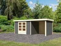 Karibu Woodfeeling Gartenhaus Askola 5 mit Anbaudach 2,25 Meter, Seiten- und Rückwand in terragrau