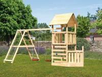 Akubi Spielturm Lotti + Schiffsanbau unten + Doppelschaukel mit Klettergerüst + Kletterwand