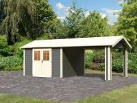 Karibu Gartenhaus Espelo 7 in terragrau mit einem Dachausbauelement 3,40 m