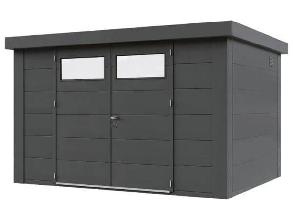 Wolff Finnhaus Metall-Gerätehaus Eleganto 2721 Granitgrau inkl. Dachrinne und Fallrohr