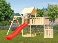 Akubi Spielturm Lotti + Schiffsanbau unten + Anbauplattform XL + Netzrampe + Einzelschaukel + Rutsche rot