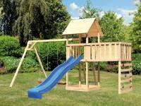 Akubi Spielturm Lotti Satteldach + Rutsche blau + Doppelschaukel + Anbauplattform XL + Kletterwand