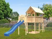 Akubi Spielturm Danny Satteldach + Rutsche blau + Einzelschaukel + Anbauplattform XL