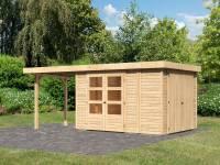 Karibu Woodfeeling Gartenhaus Retola 4 mit Anbauschrank und Anbaudach 2,40 Meter