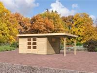 Karibu Aktions Gartenhaus Rastede 5 natur mit Dacheindeckung, Fußboden und Anbaudach 2,2 m