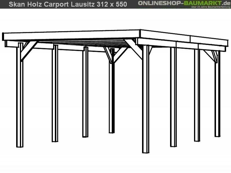 skan holz carport lausitz 312 x 550 cm einzel einzelcarport 301027. Black Bedroom Furniture Sets. Home Design Ideas