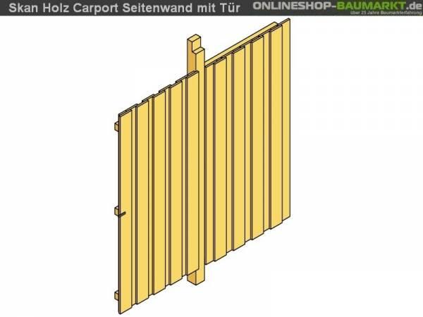Skan Holz Seitenwand für Carport 141 x 200 cm mit Tür Deckelschalung
