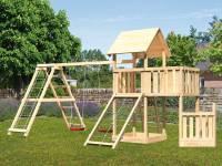 Akubi Spielturm Lotti + Schiffsanbau unten + Anbauplattform + Netzrampe + Doppelschaukel mit Klettergerüst