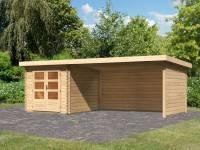 Karibu Woodfeeling Gartenhaus Bastrup 4 mit Anbaudach 4 Meter inkl. Rück- und Seitenwand