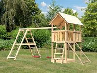 Akubi Spielturm Danny Satteldach + Doppelschaukelanbau Klettergerüst + Netzrampe