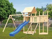 Akubi Spielturm Lotti Satteldach + Schiffsanbau oben + Anbauplattform + Doppelschaukel + Netzrampe + Rutsche in blau