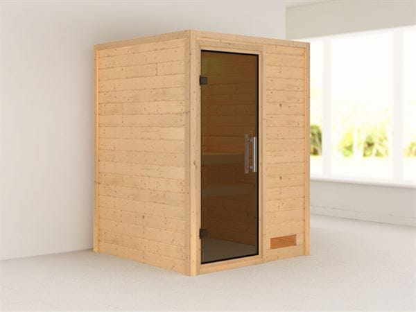 Nadja - Karibu Sauna Plug & Play ohne Ofen - ohne Dachkranz - Moderne Saunatür
