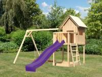 Akubi Spielhaus Frieda mit Doppelschaukel und Rutsche in violett