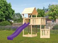 Akubi Spielturm Lotti + Schiffsanbau unten + Anbauplattform + Rutsche violett