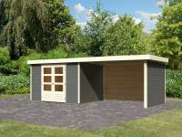 Karibu Woodfeeling Gartenhaus Askola 5 mit Anbaudach 2,8 Meter, Seiten- und Rückwand, terragrau