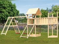 Akubi Spielturm Lotti Satteldach + Schiffsanbau oben + Doppelschaukel mit Klettergerüst + Anbauplattform XL + Netzrampe