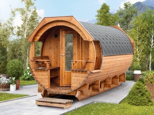 Wolff Finnhaus Thermoholz Saunafass Svenja 1 Premium Bausatz mit schwarzen Dachschindeln