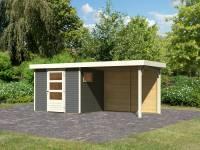 Karibu Woodfeeling Gartenhaus Oburg 3 terragrau mit Anbaudach 2,8 Meter inkl. Rückwand