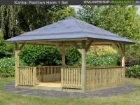 Karibu 4-Eck Pavillon Classic Holm 1 mit Brüstung und Fußboden Set kdi