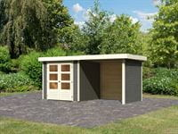 Karibu Woodfeeling Gartenhaus Askola 2 terragrau mit Anbaudach 2,40 Meter, Seiten- und Rückwand