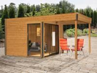 Wolff Finnhaus Pultdachhaus Studio 44-B mit Lounge Alu-Anthrazit bernstein