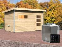 Karibu Aktionssaunahaus Erik 3 38 mm mit 9 kW BIO-Ofen ext. Strg. naturbelassen