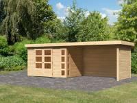 Karibu Woodfeeling Gartenhaus Kerko 4 natur mit Anbaudach 2,80 m inklusive Rück-und Seitenwand