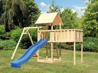 Akubi Spielturm Lotti natur mit Anbauplattform XL, Einzelschaukel und Rutsche blau
