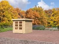 Karibu Aktion-Gartenhaus Jever 2 natur 19 mm mit Fußboden