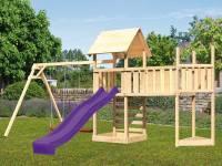 Akubi Spielturm Lotti Satteldach + Schiffsanbau oben + Doppelschaukel + Anbauplattform XL + Kletterwand + Rutsche in violett