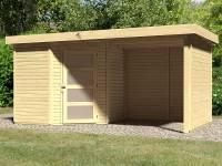 Karibu Woodfeeling Gartenhaus Schwandorf 3 natur mit Anbaudach 2,25 Meter, Seiten- und Rückwand