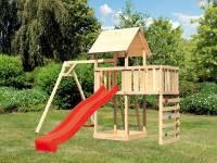 Akubi Spielturm Lotti Satteldach + Rutsche rot + Einzelschaukel + Anbauplattform + Kletterwand