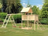 Akubi Spielturm Lotti natur- Anbauplattform- Doppelschaukel inkl. Klettergerüst- Netzrampe