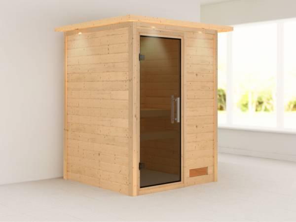 Nadja - Karibu Sauna Plug & Play ohne Ofen - mit Dachkranz - Moderne Saunatür
