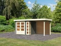 Karibu Woodfeeling Gartenhaus Kerko 3 terragrau mit 2,40 m Anbaudach, Rückwand