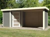 Karibu Woodfeeling Gartenhaus Schwandorf 3 terragrau mit Anbaudach 2,75 Meter, Seiten- und Rückwand
