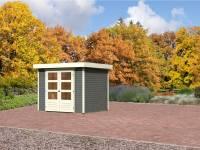 Karibu Aktions Gartenhaus Jever 3 terragrau mit Fußboden
