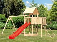 Akubi Spielturm Lotti Satteldach + Rutsche rot + Doppelschaukel + Anbauplattform + Netzrampe