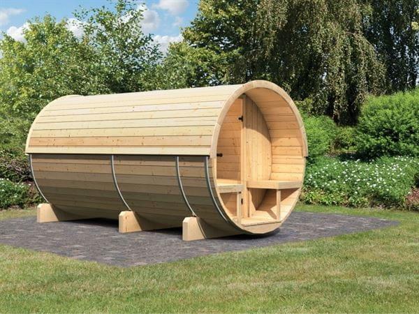 Karibu Fass - Sauna 4 42 mm ohne Ofen - Saunahaus