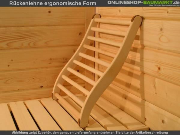 Karibu Sauna Rückenlehne ergonomisch