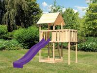 Akubi Spielturm Lotti natur mit Anbauplattform und Rutsche violett