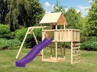 Akubi Spielturm Lotti Satteldach + Rutsche violett + Einzelschaukel + Anbauplattform + Kletterwand