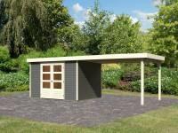Karibu Woodfeeling Gartenhaus Askola 5 mit Anbaudach 2,8 m in terragrau