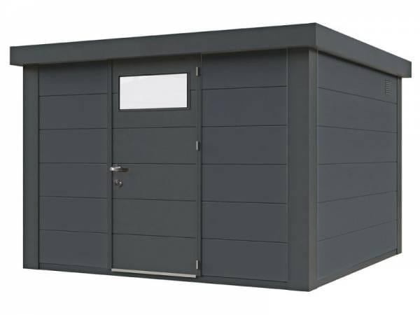 Wolff Finnhaus Metall-Gerätehaus Eleganto 2424 Granitgrau inkl. Dachrinne und Fallrohr