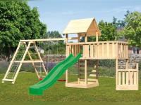 Akubi Spielturm Lotti + Schiffsanbau unten + Anbauplattform XL + Doppelschaukel mit Klettergerüst + Kletterwand + Rutsche grün