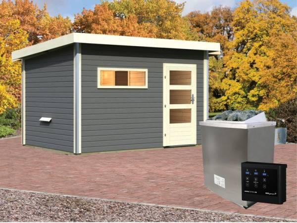 Karibu Aktionssaunahaus Erik 3 38 mm mit 9 kW Ofen ext. Strg. terragrau