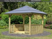 Karibu 4-Eck Pavillon Classic Bergen 1 mit Brüstung und Fußboden Set kdi