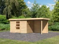 Karibu Woodfeeling Gartenhaus Oburg 4 natur mit Anbaudach 2,4 Meter inkl. Rückwand