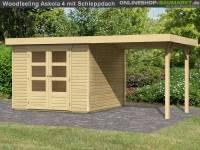 Karibu Woodfeeling Gartenhaus Askola 4 mit Anbaudach 2,25 Meter